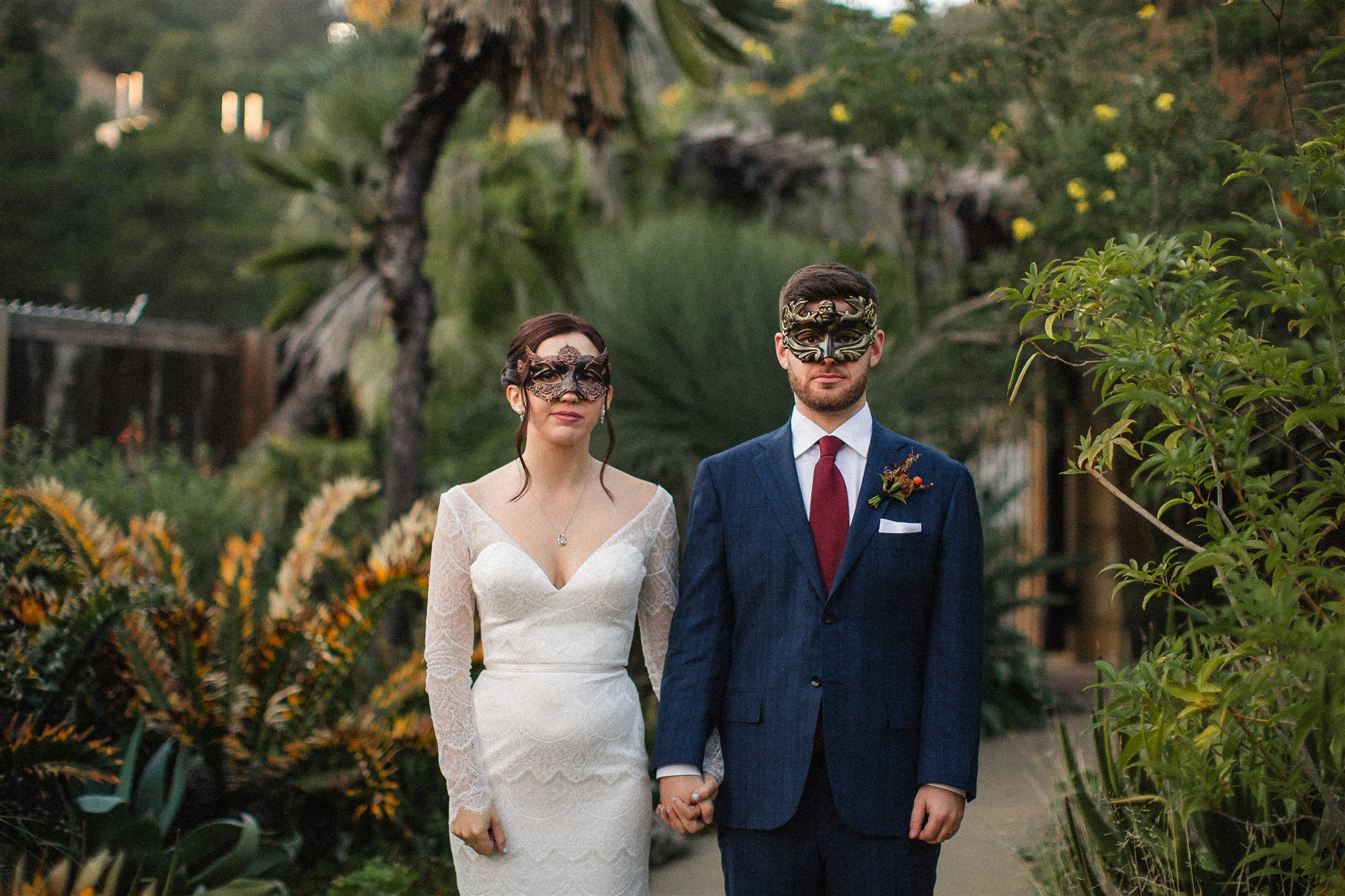 Intimate Berkeley Botanical Garden Wedding with Masquerade Vibes